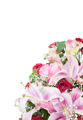 Beautiful bouquet of bright flowers,isolated on white background