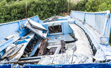 Abandoned Fishing Boat on beach, Alonissos, Greece
