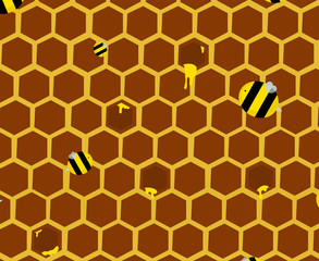 Natural Background with Honeycombs and Bees