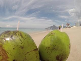 Green Coconuts Ipanema Beach Slo Mo Waves