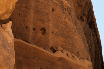 Writing and drawings on the walls of Madaîn Saleh, Saudi Arabia