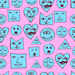 Funny smiles seamless pattern