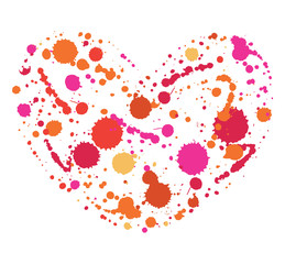 Bright, color heart of watercolor splashes
