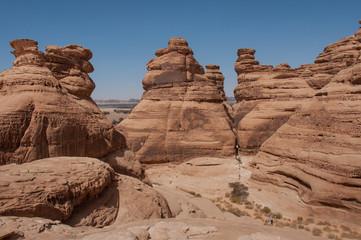 Rock formations in Madaîn Saleh, Saudi Arabia