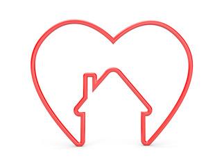 Heart with house shape