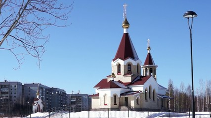 Orthodox church view in spring day