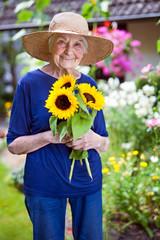 Happy Senior Woman Holding Pretty Sunflowers.