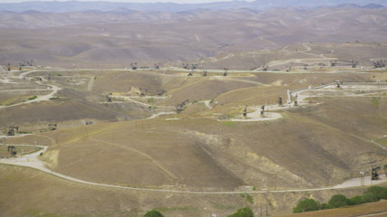 Aerial view of Lost Hills oil donkeys