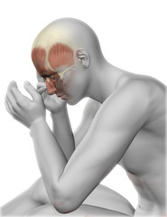 3D male figure with head pain