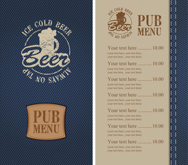 menu for a beer bar on denim
