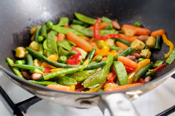 Closeup roasting mexican vegetables mix in wok