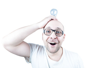 Funny guy posing with bulb