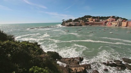 Silence bay to Sestri Levante wity stormy sea