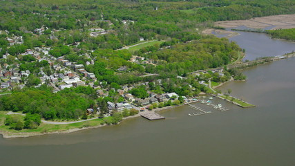 Aerial view of Hudson River New York City State
