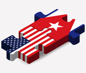 USA and Cuba Flags in puzzle