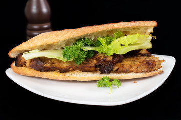 Banh Mi, Vietnamese sandwich filled with porc pate and vegetable