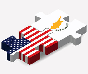 USA and Republic of Cyprus Flags in puzzle