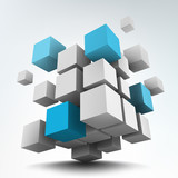 Fototapety Vector illustration of 3d cubes