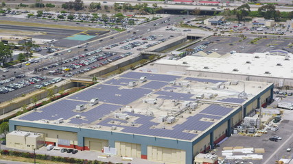 Aerial view of Solar Panels in Silicon Valley