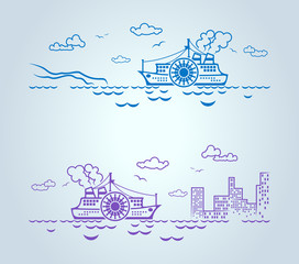 Abstract ship, stylization, vector