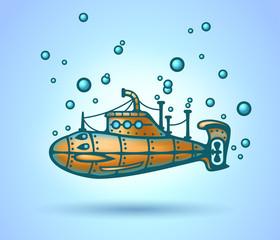 Submarine abstract, stylization, vector