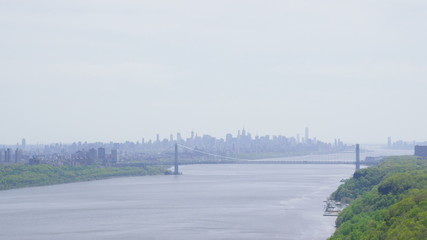 Aerial view of New York City & the Hudson River