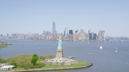 Aerial view circling  Statue of Liberty New York City