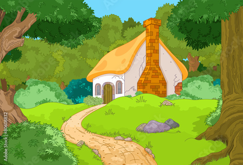 Fotobehang Lime groen Cartoon Forest Cabin