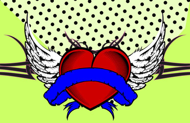 winged heart ribbon tattoo background