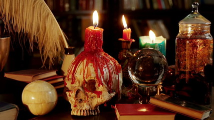 Human Skull Occult Candles Artifacts