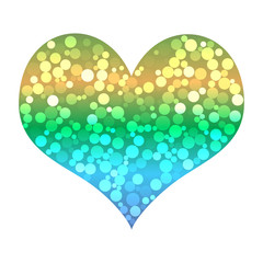 Eye-catching shining heart with glittering bubbles inside, vecto