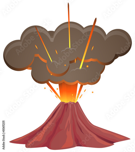 Volcano first blow vector image - 80611201