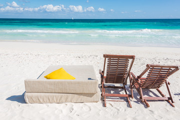 Chairs at Caribbean Seascape, Tulum, Mexico.