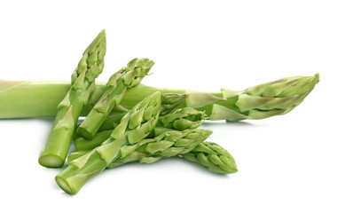 Bunch of fresh asparagus isolated on white
