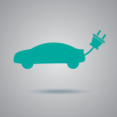 electric, car, icon, flat, vector, illustration