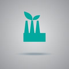 green, factory, icon, flat, vector, illustration