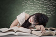 Exhausted student prepare exam