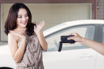 Girl looks shocked when get a new car