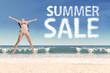 Joyful girl with summer sale cloud