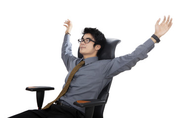 Relaxed and dreaming businessman
