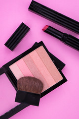 Make Up Pallete on Pink Background
