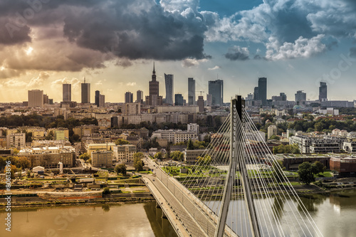 Fototapety, obrazy : City of Warsaw skyline behind the bridge, Poland