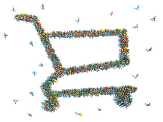 People that like to shop. Large group of people in the form of a