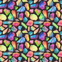Colorful watercolor gem pattern, beautiful crystal pattern
