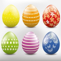 Set of different colored Easter egg