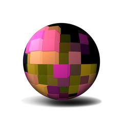 Sfera 3D con cubi colorati su fondo bianco.