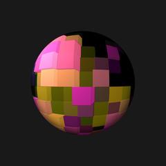Sfera 3D con cubi colorati su fondo nero.
