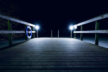 Dock at night in the winter