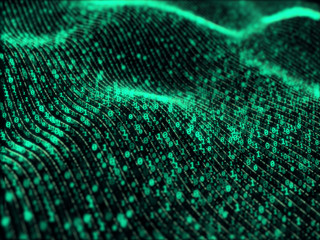 Waves of digital information - binary code