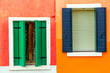 Leinwandbild Motiv Colorful window of a house on the Venetian island of Burano